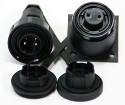 Picture of 3 Pin Plug & BH Socket Kit IP68 Bulgin DP c/w Caps & Screws (DP3BH) Each