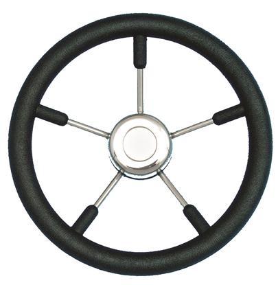 Picture of Steering Wheel Black 350mm 5 Stainless Steel Spokes (9988SAB) Each